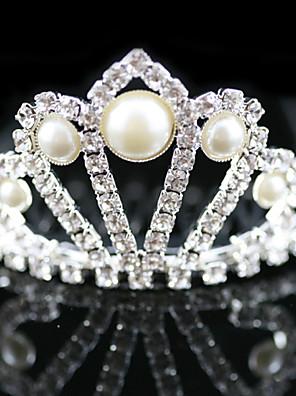 Menina das Flores Liga / Imitação de Pérola Capacete-Casamento / Ocasião Especial Tiaras Claro Corte Quadrado