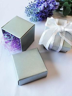 vierkante doos in het voordeel parel zilver (set van 24)