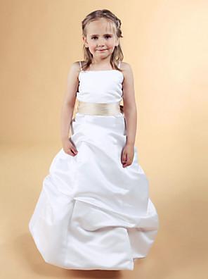Corte en A / Princesa Hasta el Suelo Vestido de Niña Florista - Satén Sin Mangas Cuadrado / Tirantes Spaghetti conLazo(s) / Falda Plegada