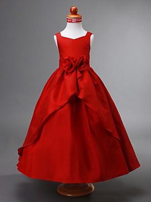 Lanting Bride Ball Gown Ankle-length Flower Girl Dress - Taffeta Sleeveless V-neck with Draping / Flower(s) / Split Front
