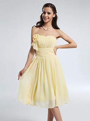Mi-long Mousseline de soie Robe de Demoiselle d'Honneur  Trapèze / Princesse Sans Bretelles / Coeur Grande Taille / Petite avecDrapée /
