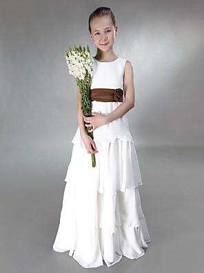 Tot de grond Chiffon / Satijn Junior bruidsmeisjesjurk A-lijn / Prinses Met sieraad Empire metStrik(ken) / Bloem(en) / Sjerp / Lint /