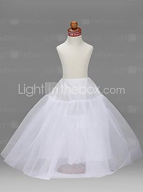 תחתונית  A- קו תחתוניות סליפ שמלת נשף אורך עד לרצפה 3 רשתות בד טול טפטה לבן