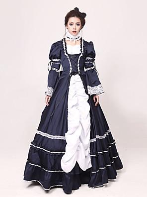 Long Sleeve Floor-length Ink Blue Jazz Wool Princess Lolita Dress