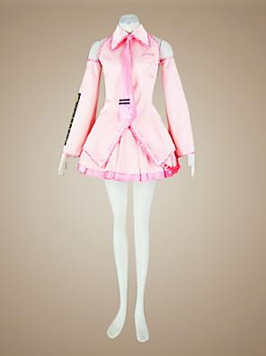 Inspirovaný Vocaloid Sakura Miku Video Hra Cosplay kostýmy Cosplay šaty / Šaty Patchwork Růžová Bez rukávůTričko / Sukně / Kravata /