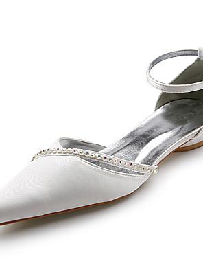 kiváló minőségű szatén felső alacsony sarkú szandál, gumis esküvői menyasszonyi cipő