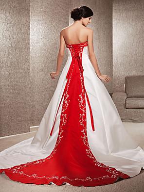 lanting novia una línea / princesa pequeña / más el tamaño de la boda del vestido sin tirantes de la capilla tren satinado