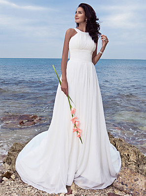 Lanting Bride® A-line Petite / Plus Sizes Wedding Dress - Classic & Timeless / Chic & Modern Sweep / Brush Train Jewel Chiffon
