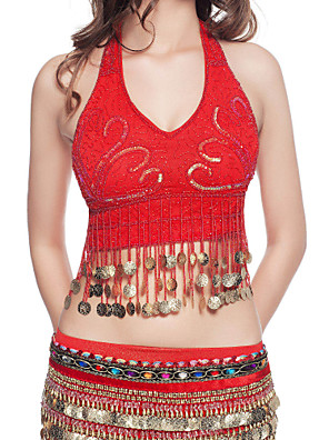 Belly Dance Tops Women's Performance Polyester Beading / Coins Blue / Fuchsia / Pink / Purple / Red / White / YellowBelly Dance /