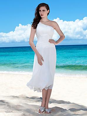 Lanting Bride® Tubinho Pequeno / Tamanhos Grandes Vestido de Noiva - Chique e Moderno / Recepção Longuette Mula Manca Chiffon com
