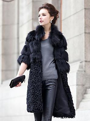 rozestýlka límec poloviny rukáv fox fur / jehněčí kožešiny strana kabát