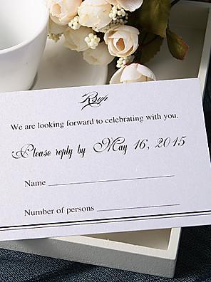 Személyre szabott Lapos kártya Esküvői Meghívók Meghívók-50 Darab / készlet Művészeti stílus Gyöngy-papír 9 * 12,5 cm