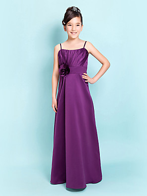 Floor-length Satin Junior Bridesmaid Dress A-line / Sheath / Column Spaghetti Straps Natural with Flower(s) / Sash / Ribbon / Side Draping