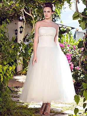 Lanting Bride® De Baile Pequeno / Tamanhos Grandes Vestido de Noiva - Chique e Moderno / Recepção Até o Tornozelo Tomara que Caia Tule com
