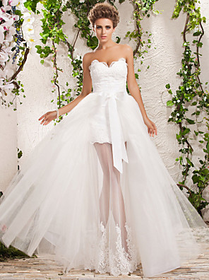 Lanting Bride® גזרת A / נסיכה מידה גדולה / קטן שמלת כלה - שיק ומודרני / אלגנטי ויוקרתי שמלות חתונה שתיים באחת עד הריצפה מחשוף לב טול עם