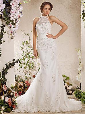 Lanting novia trompeta / sirena petite / tallas grandes de la boda del tren del vestido de tenis de alto cuello de raso / tul
