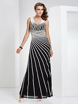 포멀 이브닝 / 밀리터리 볼 드레스 시스 / 칼럼 V-넥 바닥 길이 튤 / 스트래치 새틴 와 패턴 / 프린트