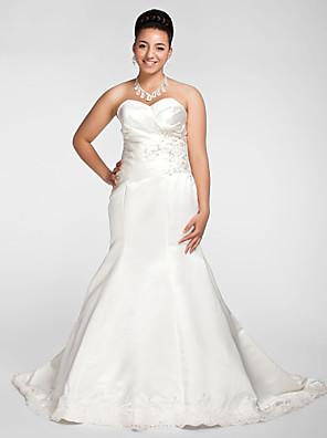 Lanting Bride® Sereia Pequeno / Tamanhos Grandes Vestido de Noiva - Elegante e Luxuoso Cauda Capela Coração Cetim com