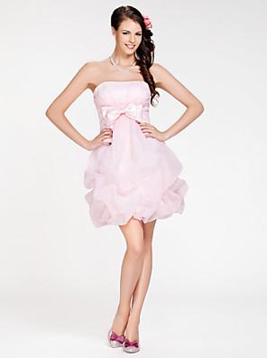 Lanting Bride® קצר \ מיני אורגנזה שמלה לשושבינה - גזרת A / נשף סטרפלס פלאס סייז (מידה גדולה) / פטיט עםפפיון(ים) / כיווצים למעלה / בד