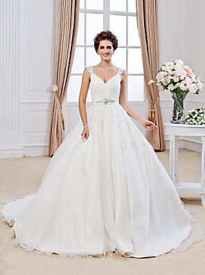 Lanting Bride® Plesové šaty Drobná / Nadměrné velikosti Svatební šaty - Klasické & nadčasové Krajka Extra dlouhá vlečka Do V Organza s