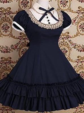 /שמלותחתיכה אחת לוליטה קלאסית ומסורתית בהשפעת וינטאג' Cosplay שמלות לוליטה אדום / Black / ורוד / אפור / Musteensininen וינטאג' שרוול קצר