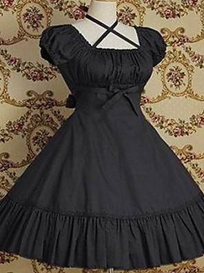 /שמלותחתיכה אחת לוליטה קלאסית ומסורתית בהשפעת וינטאג' Cosplay שמלות לוליטה אדום / Black / אפור / פוקסיה וינטאג' שרוול קצר אורך בינוני שמלה