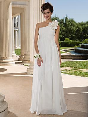 Lanting Bride® Tubinho Pequeno / Tamanhos Grandes Vestido de Noiva - Chique e Moderno Transparências Longo Mula Manca Chiffon com