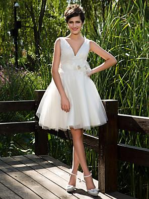 Lanting Bride Ball Gown Petite / Plus Sizes Wedding Dress-Knee-length V-neck Tulle