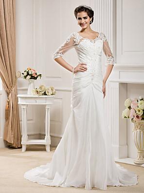 Lanting Bride® Sereia Tamanhos Grandes / Pequeno Vestido de Noiva - Clássico e atemporal / Elegante e Luxuoso Cauda Capela Decote em U