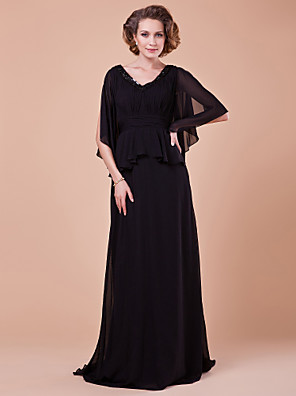 A-line Plus Size / Petite Mother of the Bride Dress Sweep / Brush Train Half Sleeve Chiffon withDraping / Sash / Ribbon / Sequins /