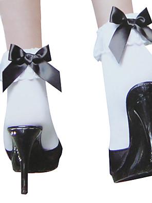 Meias e Meias-Calças Doce Princesa Branco Lolita Acessórios Meias Finas Laço Para Feminino Náilon