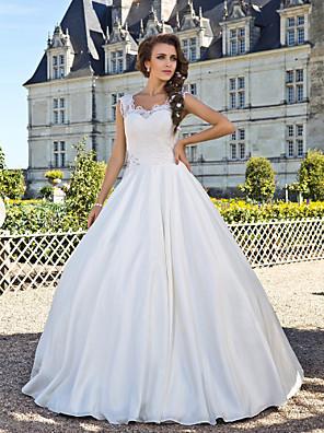 Lanting Bride® גזרת A קטן / מידה גדולה שמלת כלה - קלסי ונצחי בהשפעת וינטאג' עד הריצפה מחשוף עמוק תחרה / טפטה עם