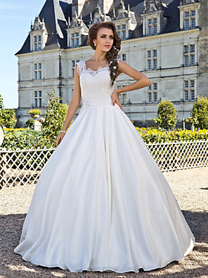 Lanting Bride® A-Linie Drobná / Nadměrné velikosti Svatební šaty - Klasické & nadčasové Retro Na zem Kopeček Krajka / Taft s