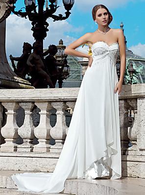 Lanting sposa guaina / colonna petite / taglie abito da sposa-corte chiffon treno innamorato