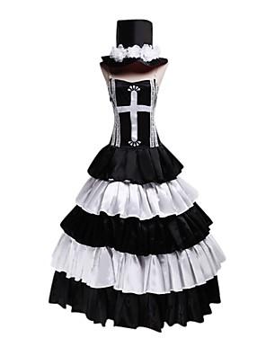 קיבל השראה מ One Piece Perona אנימה תחפושות קוספליי חליפות קוספליי / שמלות וינטאג' לבן / שחור בלי שרוולים שמלה / כובע