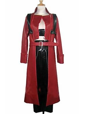 קיבל השראה מ Devil May Cry דנטה וִידֵאוֹ מִשְׂחָק תחפושות קוספליי חליפות קוספליי טלאים אדום שרוולים ארוכים מעיל / מכנסיים