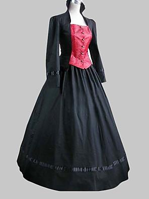 Vestido Lolita Longo, com Manga Longa, Preto em Algodão