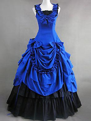 Ermeløs Floor lengde Blå Cotton Victorian Gothic Lolita Dress