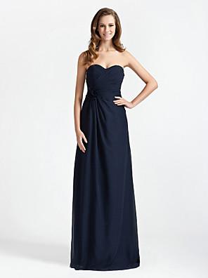 Lanting Bride® עד הריצפה שיפון שמלה לשושבינה - מעטפת \ עמוד סטרפלס / מחשוף לב פלאס סייז (מידה גדולה) / פטיט עם פרח(ים) / בד בהצלבה
