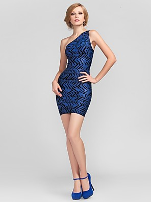 Cocktail Party Dress - Short Sheath / Column One Shoulder Short / Mini Rayon with Bandage