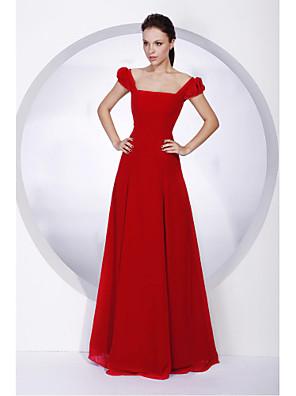 Lanting Bride® Longo Chiffon Vestido de Madrinha - Linha A / Princesa Ombro a Ombro / Quadrado Tamanhos Grandes / Mignon com