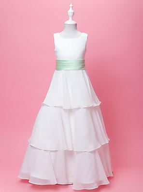 Lanting Bride A-Linie / Princess Na zem Šaty pro květinovou družičku - Šifón / Satén Bez rukávů Kopeček sMašle / Nabírání / Šerpa / Stuha