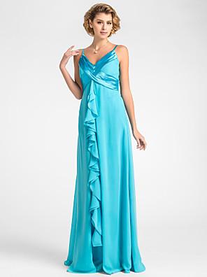שמלה לאם הכלה - פול נדן / טור - אורך עד לרצפה - ללא שרוולים - שיפון תפוח/שעון חול/משולש הפוך/אגס/מלבן/מידות גדולות/קטן/עלמות