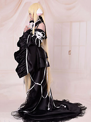 Inspirovaný Chobits Chii Anime Cosplay kostýmy Cosplay šaty / Šaty Jednobarevné Czarny Bez rukávů K šatům / Límeček / Rukávy