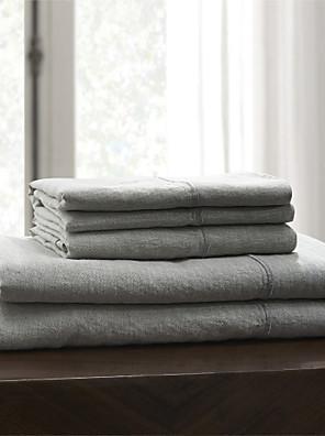 """eenvoudig&opulence® hoeslaken, 100% linnen effen grijs tot 15 """"deep"""