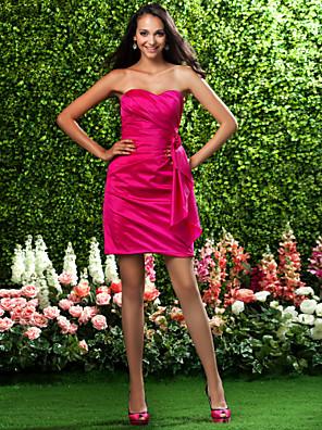Lanting Bride® קצר \ מיני טפטה שמלה לשושבינה - מעטפת \ עמוד סטרפלס / מחשוף לב פלאס סייז (מידה גדולה) / פטיט עם פרח(ים) / בד נשפך בצד