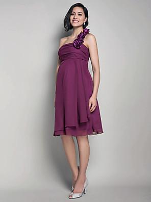 Lanting Bride® Ke kolenům Šifón Šaty pro družičky - A-Linie / Princess Jedno rameno Těhotenské s Květina(y) / Sklady
