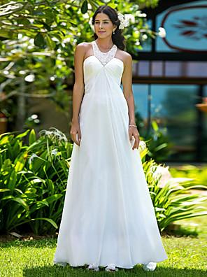 Lanting Bride Sheath/Column Petite / Plus Sizes Wedding Dress-Sweep/Brush Train Jewel Chiffon