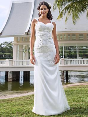 Lanting Bride® Sheath / Column Petite / Plus Sizes Wedding Dress - Classic & Timeless / Elegant & Luxurious See-Through Wedding Dresses