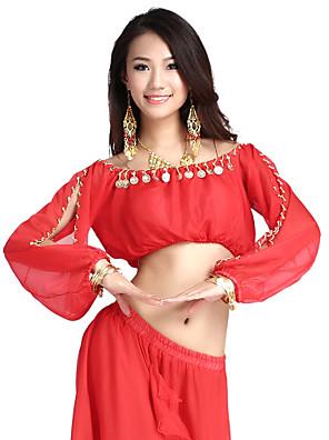ריקוד בטן חלקים עליונים בגדי ריקוד נשים אימון שיפון מטבעות חלק 1 שרוול ארוך עליון